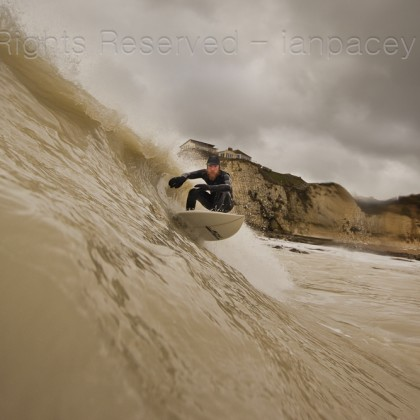 This was taken on a cold, grey mid-winter's session at Freshwater Bay, Isle of Wight. The water is very chalky due to a landslip on the side of Tennyson Down a few weeks before this shot was taken.